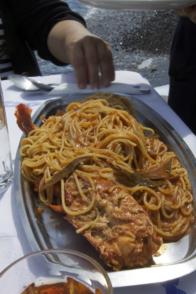 Dolphin's Lobster Spaghetti on Santorini