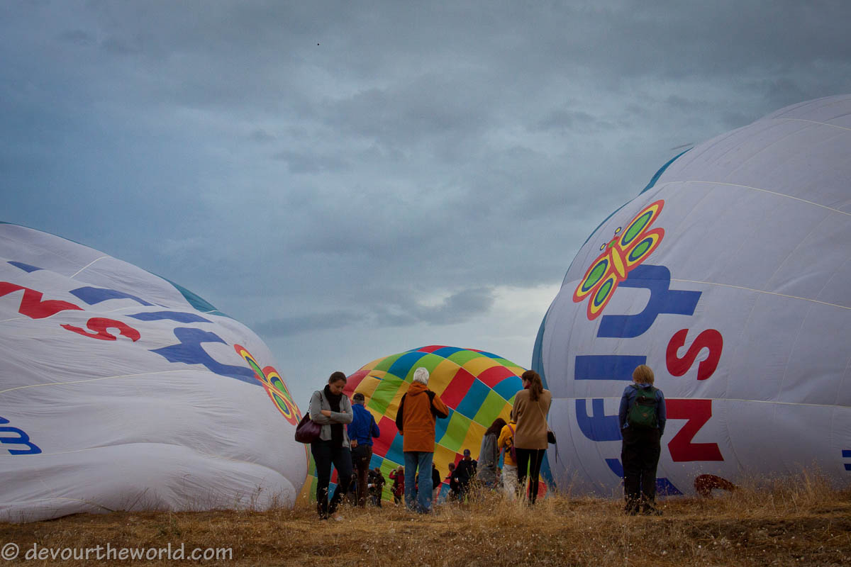 butterfly balloons being inflated in Cappadocia, turkey